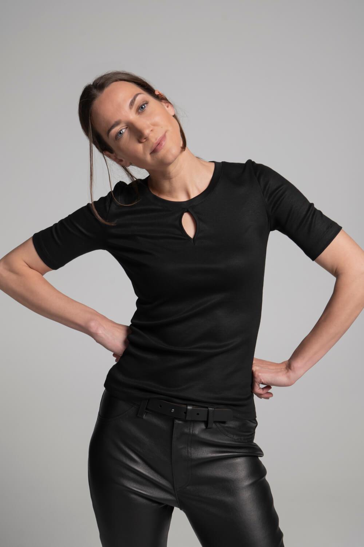Damen Shirt Schlüssellochausschnitt  Damen T-Shirt schwarz   arrivato