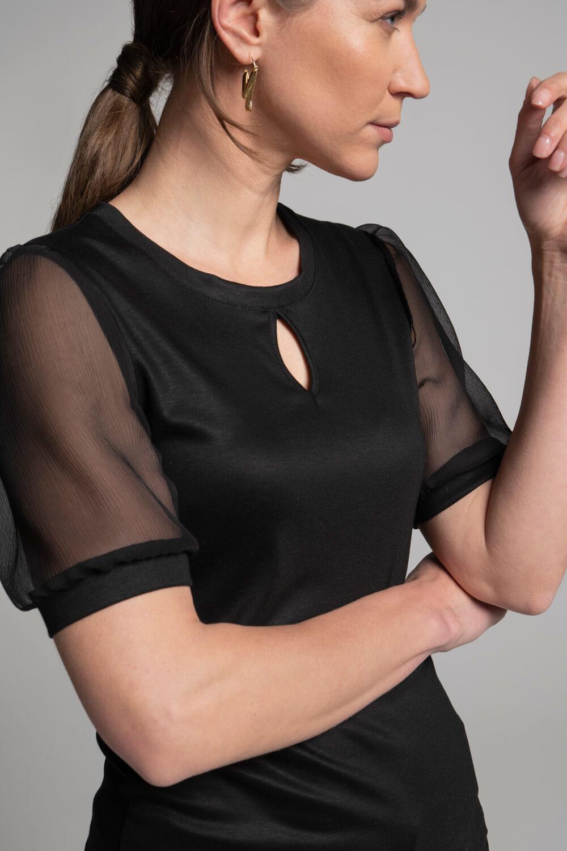 Damen Shirt Puffärmel| Damen Oberteil transparente Ärmel | arrivato