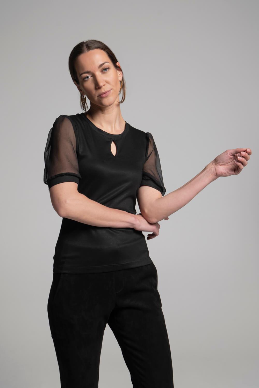 Damen Shirt Puffärmel  Damen Oberteil transparente Ärmel   arrivato