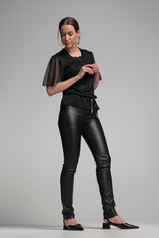 Damen Shirt Taillenband| Damen T-Shirt transparente Ärmel | arrivato